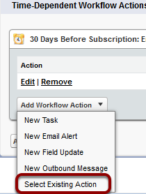 Select 'Select Existing Action' from the drop down menu