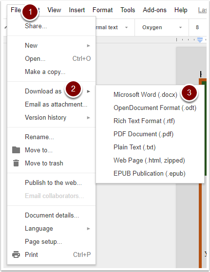 Google Docs: File, Download as, Microsoft Word buttons