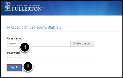 CSUF Microsoft sign-in screen