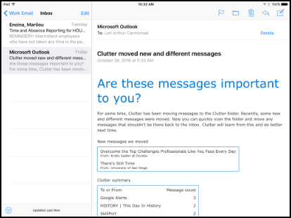 Mail app with emails