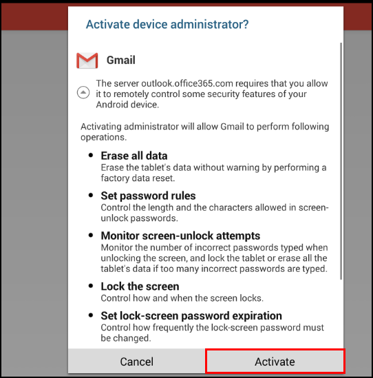 Activate device administrator