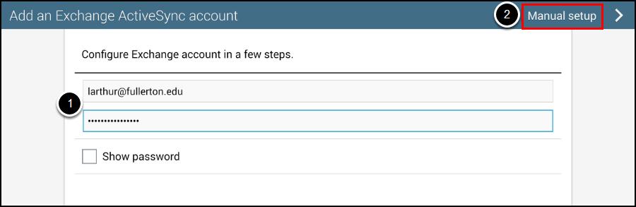 Add Exchange ActiveSync account screen