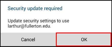 Security update pop-up