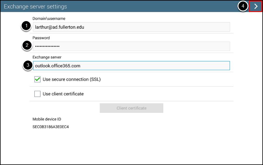 Exchange server settings screen
