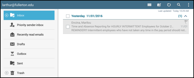Email app inbox