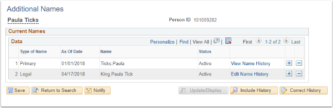 Additinal Names page