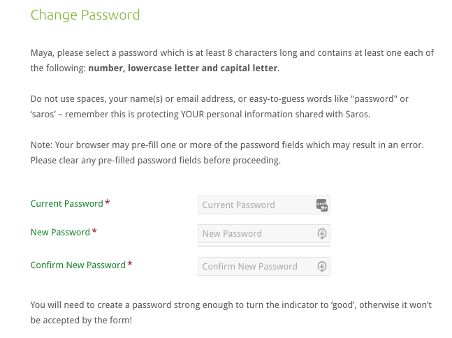 Enter your old password, then enter and confirm your replacement password