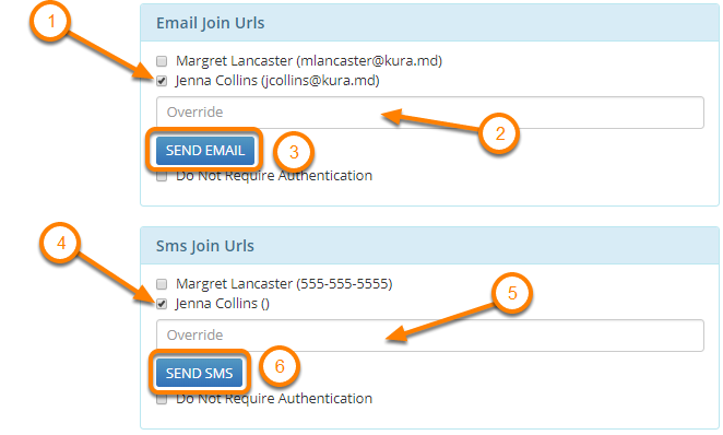 Send Invites to the Patient and Provider vis Email or SMS Text