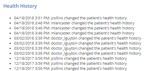 View the Patient's Health History