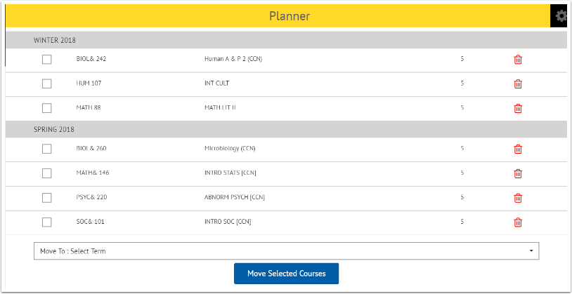 View courses in planner page