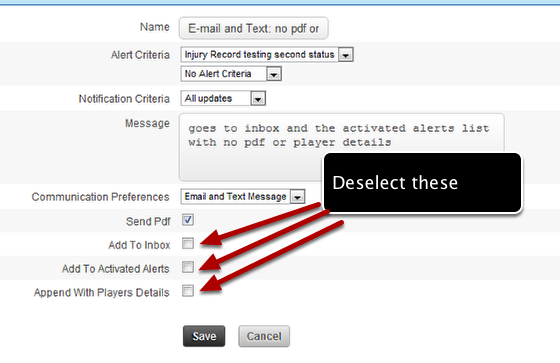 Set up tips: if you are setting up a text or e-mail or combined text/e-mail alert it could have the following settings