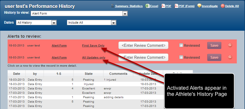 #3: Activated Alerts ALSO appear above the athlete's records in the Athlete History Page.