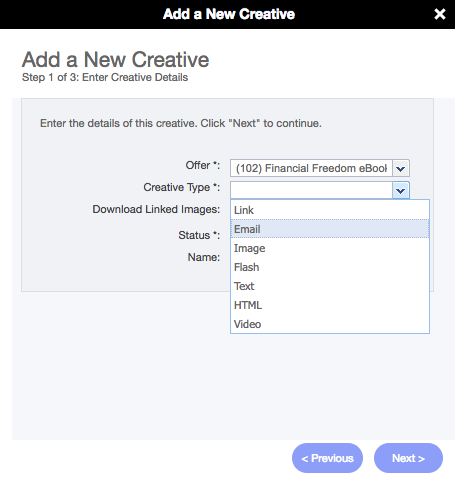 Adding an Email Creative