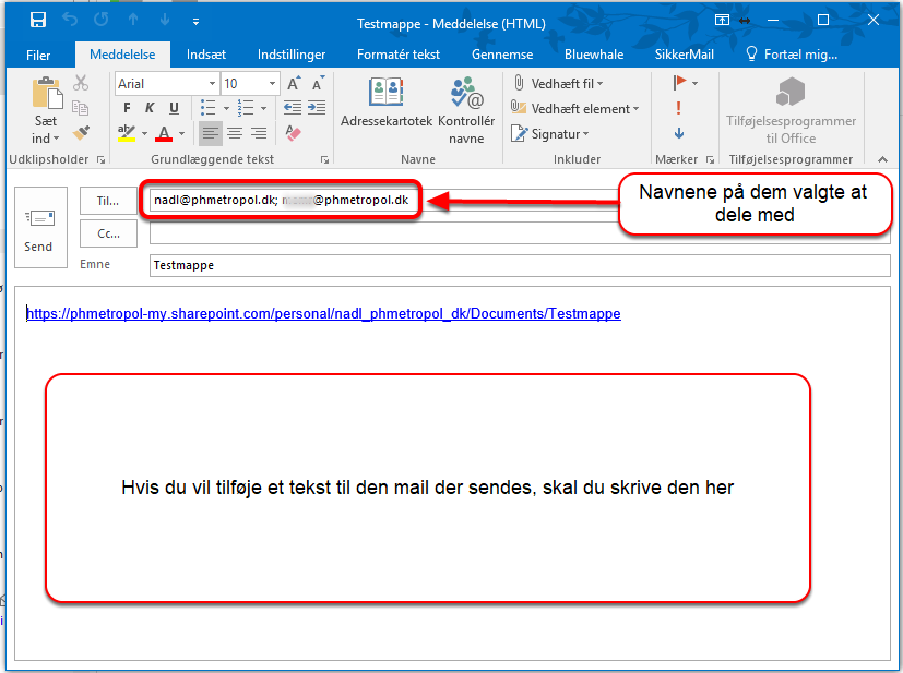 Outlook genererer nu en email til alle tilknyttede mailadresser