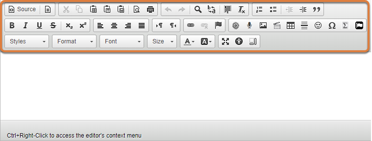 Screenshot of editor with full (desktop) toolbar