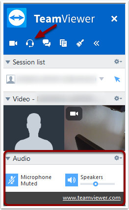 TeamViewer Audio Chat button and Audio panel