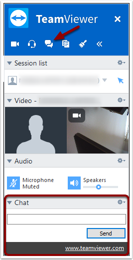 TeamViewer Text Chat button and Text Chat panel