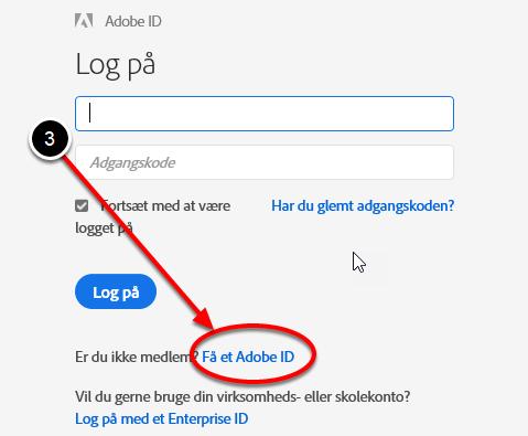 """Vælg """"Få et Adobe-id"""""""