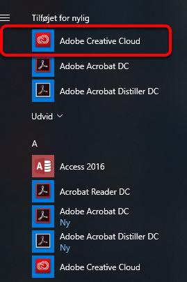 Start Adobe Creative Cloud