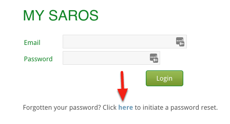 find the password reset link on the login page