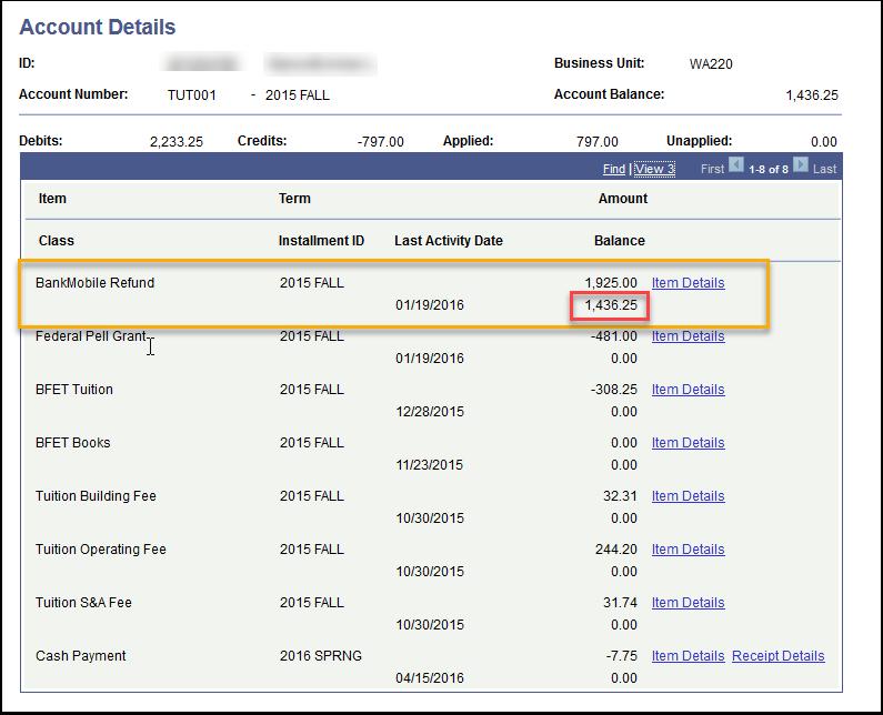 Account Details BankMobile Refund line item detail page