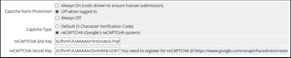 Configure recaptcha as shown