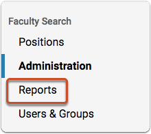 "On your Faculty Search Account Dashboard, click ""Manage,"" and select ""Reports"" from the dropdown menu"