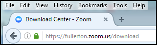 Web browser address bar with https://fullerton.zoom.us/download populated