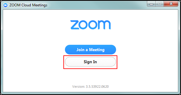 Zoom client pop-up window with Sign In button highlighted