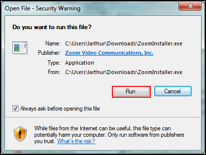Security warning pop-up window with Run button highlighted