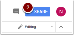 Google Doc SHARE button