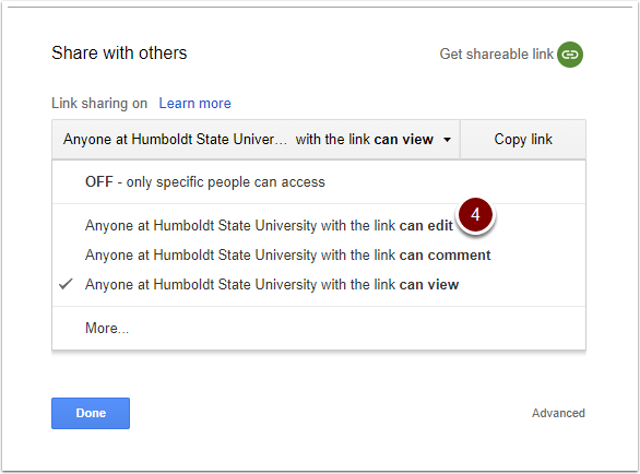"Google Doc Link Sharing Options - select"" Anyone at Humboldt State University with the link can edit"""