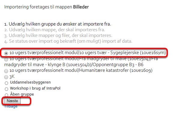Vælg nu hvilken gruppe filerne skal kopieres/flyttes fra: