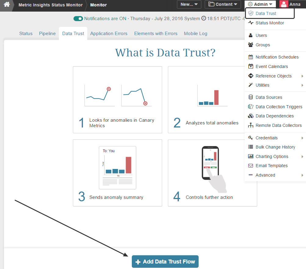 Access Data Trust tab in the Status Monitor