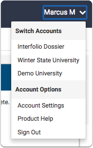 From any application screen, click on your name and go to Account Settings to add your AAMC ID (found in your AMCAS application) to your account