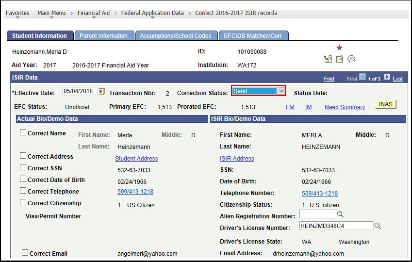 ISIR Data Correction Status