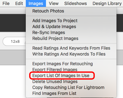 Export List Of Images In Use