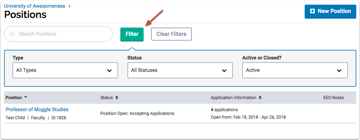 "The ""Filter"" button allows you to limit the list according to status or view archived (closed) positions"