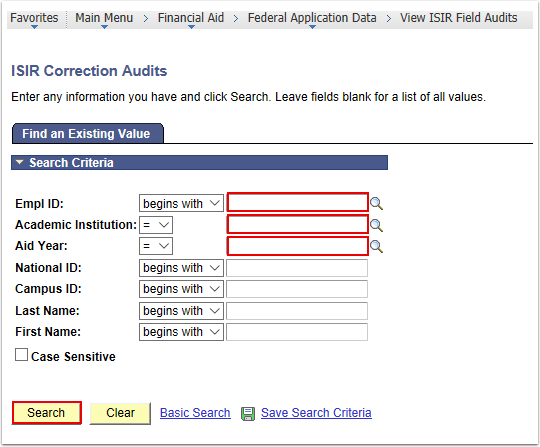 ISIR Correction Audits Page