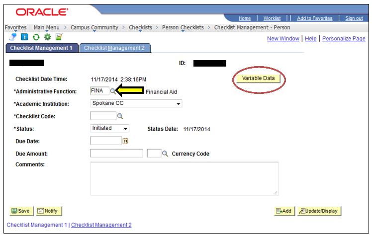 Checklist Management 1 tab