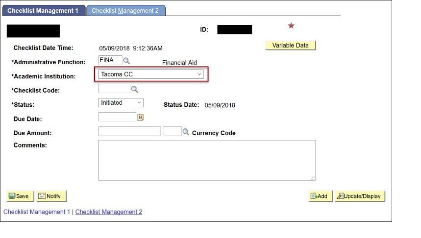 Checklist Management 1 tab - Academic Institution field