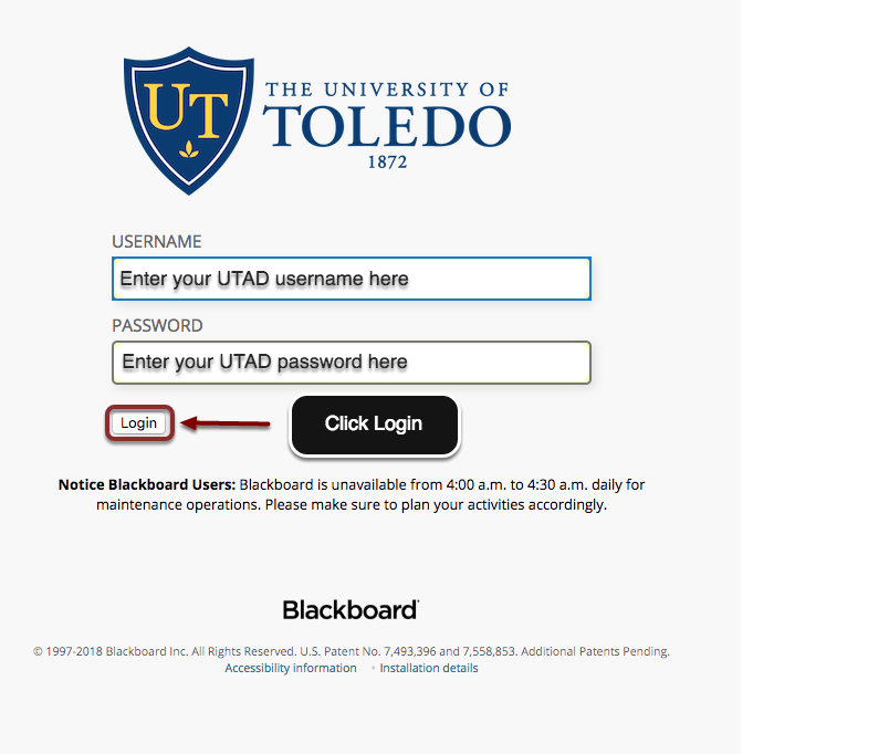 Image of the Blackboard login page showing the username and password fields