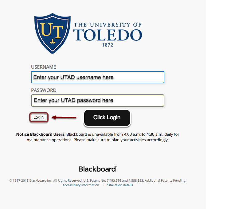 Blackboard homescreen is displayed. Enter UTAD credentials.