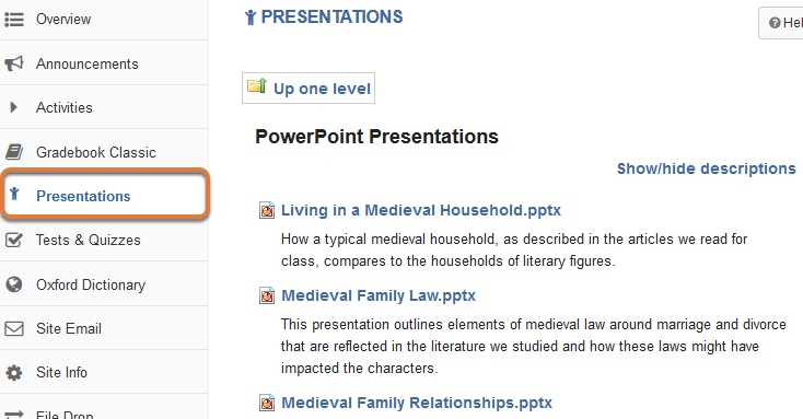 The Presentations link for students is shown in the Tool Menu, and the page with the files displays.