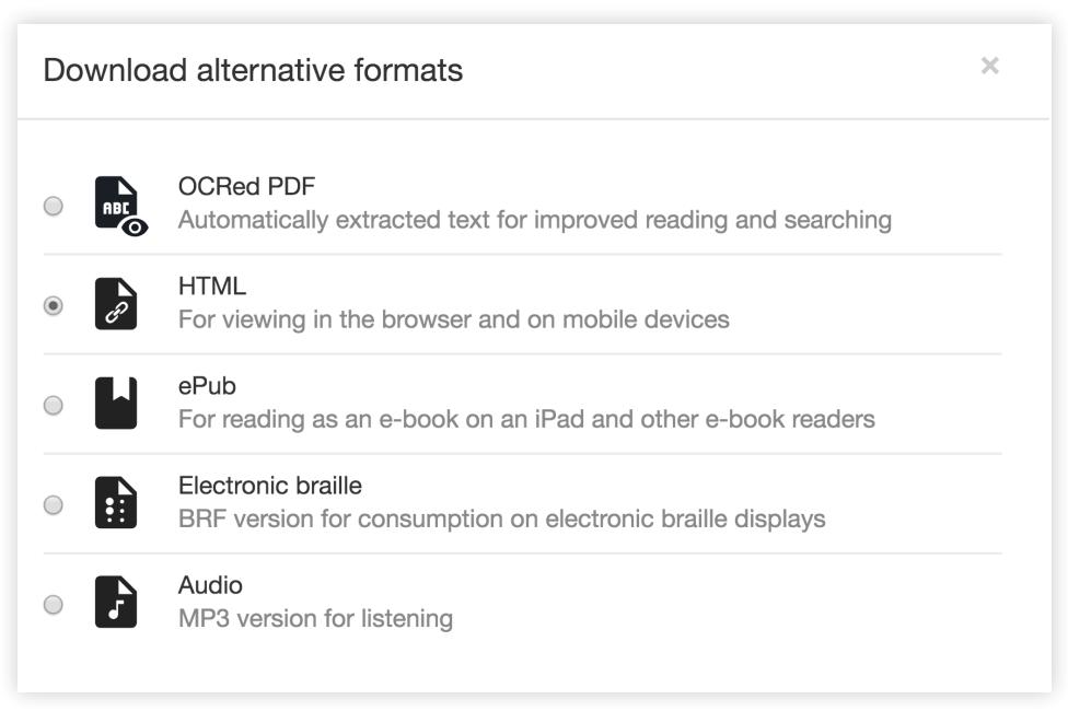 OCRed PDF, HTML, ePub, Electronic braille, Audio