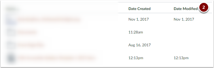Canvas Course Files showing Date Modified Header