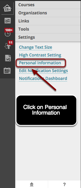 This image shows the notification panel with the Settings menu opened, with Personal Information highlighed, and instructions to click on Personal Information