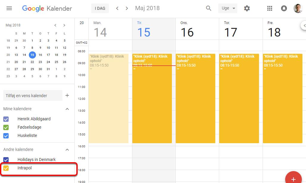 Kalenderen er nu tilføjet og kan efter lidt tid ses i din Google kalender