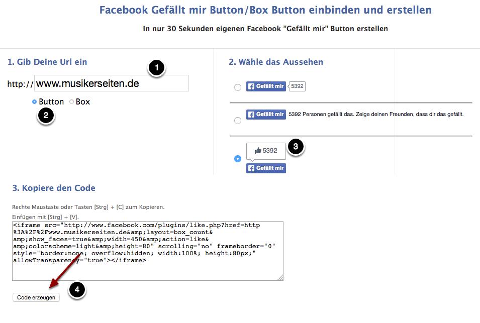 Konfiguriere Deinen Like-Button auf gefällt-mir-button.de