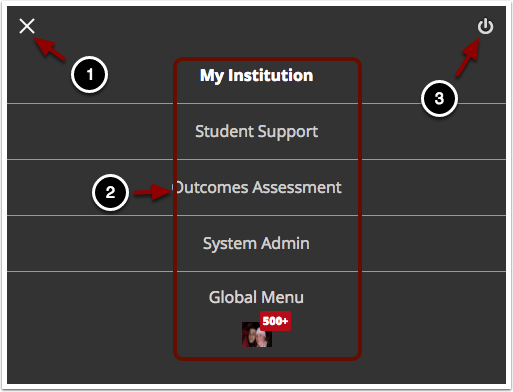 Image of the system menu with the following items: 1.To close the system tab menu, click the X button in the upper left hand corner of the screen. 2.Click on the desired menu item to access the desired content.3.To log out of Blackboard, click on the Power icon in the upper right hand corner of the screen.